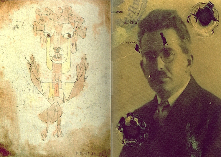 "Palu Klee's Angelus Novus, next to Benjamin, who described the painting as ""The Angel of History"""
